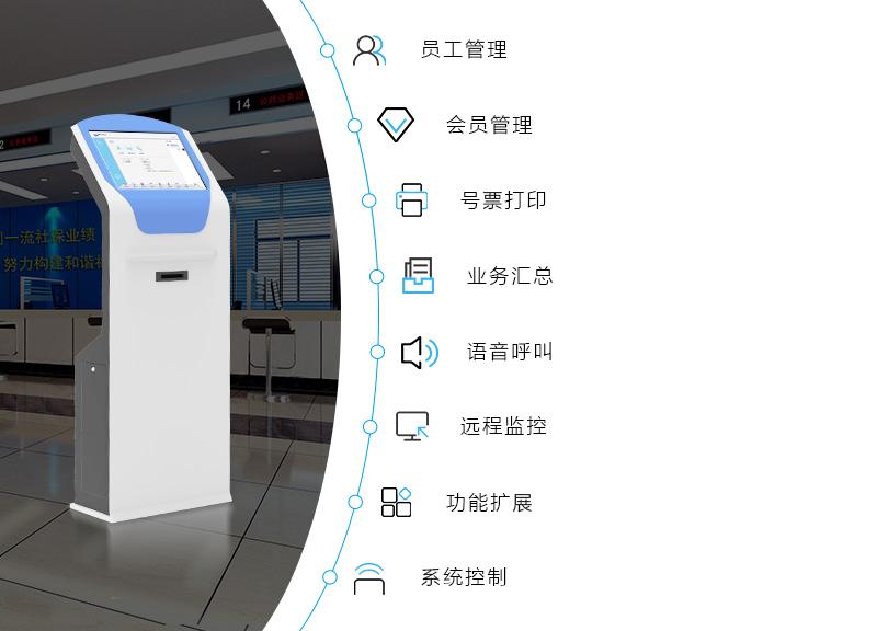员工管理、会员管理、好票打印、业务汇总、语音呼叫、远程控制、功能扩展、系统控制-广州奔想智能科技有限公司