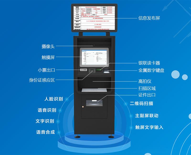 摄像头 信息发布屏 触摸屏 银联读卡器 小票出口 金属数字键盘 身份证感应区 扫描区域 证件出口 -广州奔想智能科技有限 公司